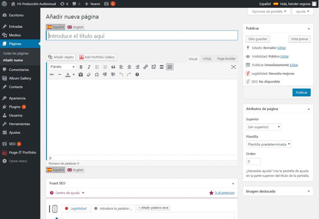 Añadir una nueva pagina en WordPress