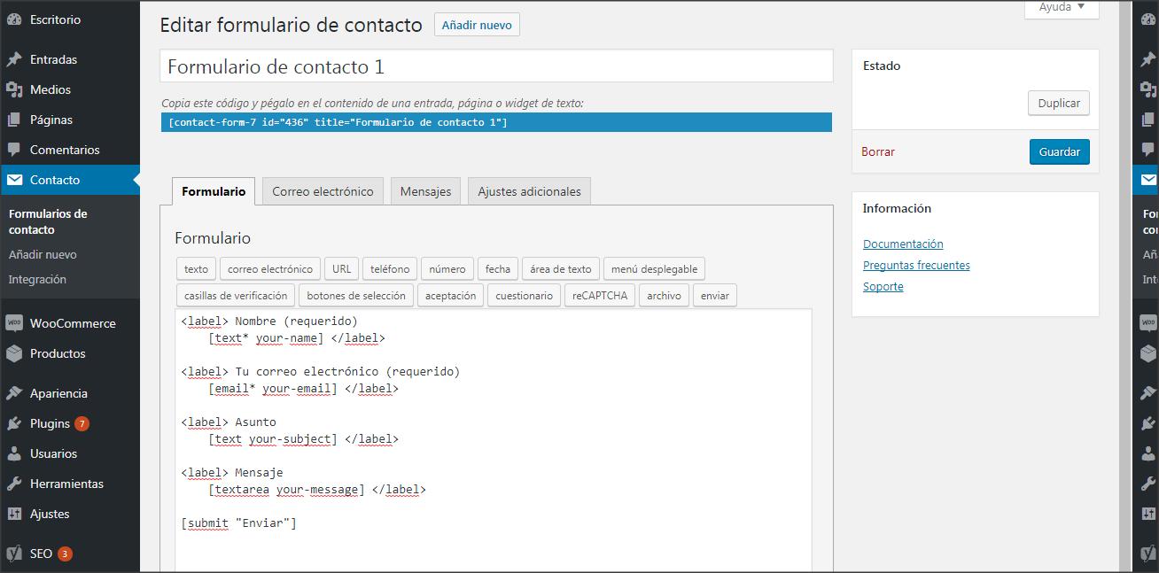 Añadir nuevo Formulario - Contact Form 7
